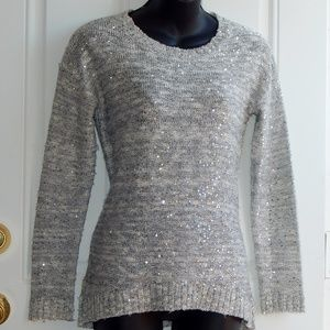 ONE A Sequined Knit Pullover Sweater SILVER